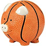Enesco Basketball Piggy Bank, Ceramic, 4.25 inches, Orange