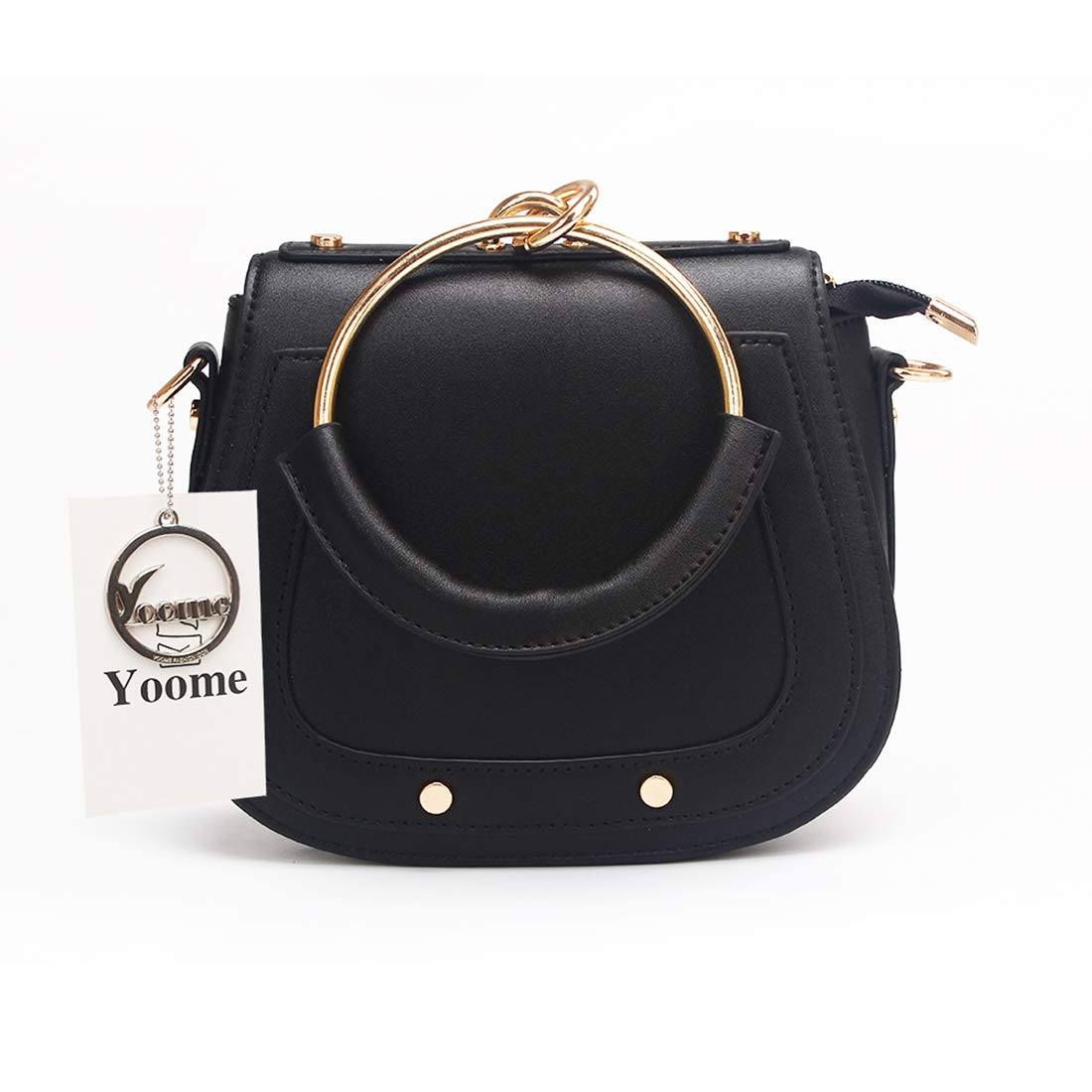 Yoome Elegant Rivets Punk Style Circular Ring Handle Handbags Messenger Crossbody Bags For Girls - Black.Leather Handle