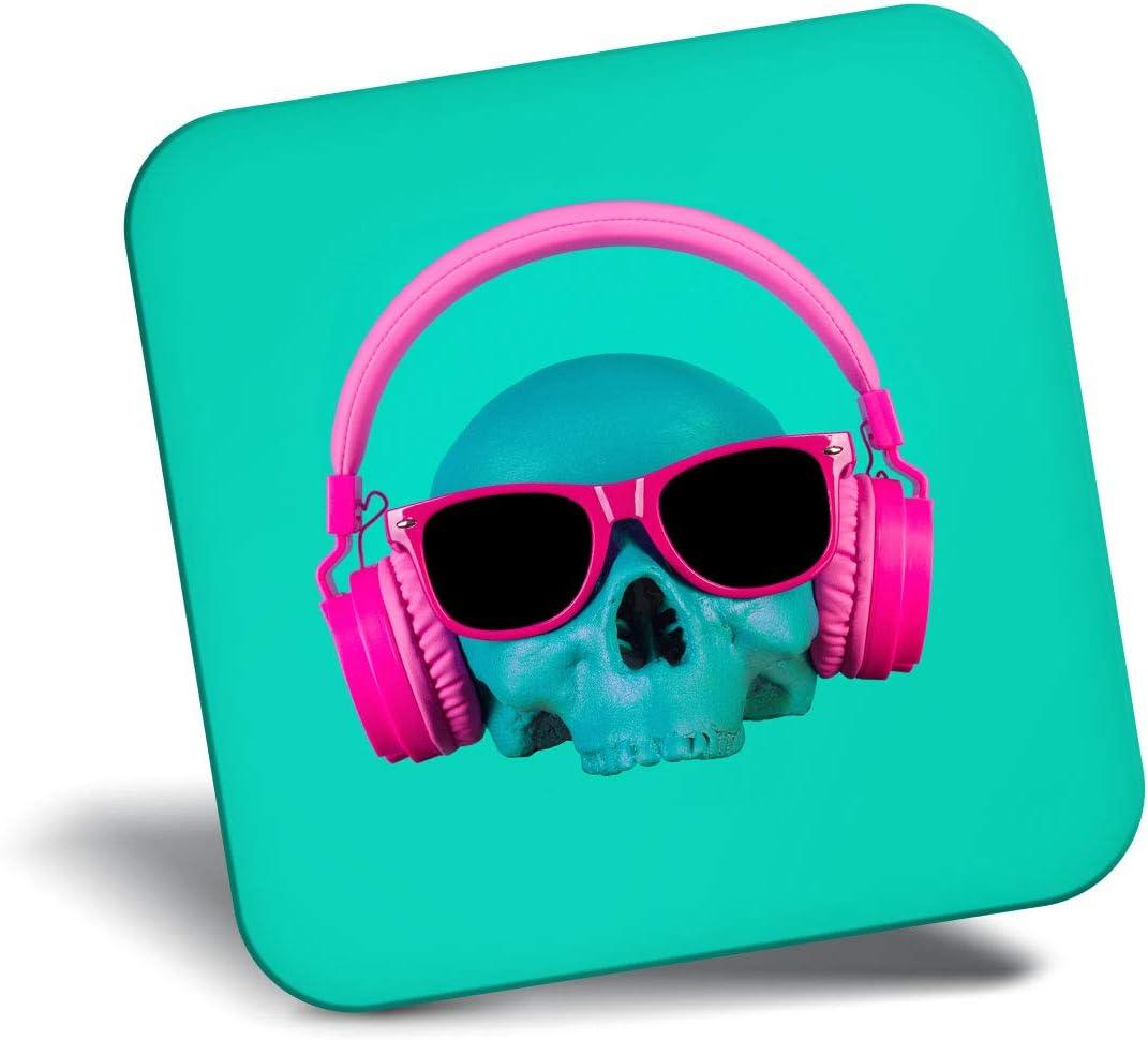Destination Vinyl ltd Awesome Fridge Magnet - Funny DJ Skull Music Pink Teal Blue Green 24212