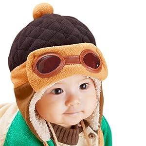 CHIC-CHIC Garçons Fille BŽbŽ Hiver Chaud Cap Chapeau Bonnet Aviateur Pilote Crochet Earflap Chapeaux DŽguisement (CafŽ, 1-3 ans)