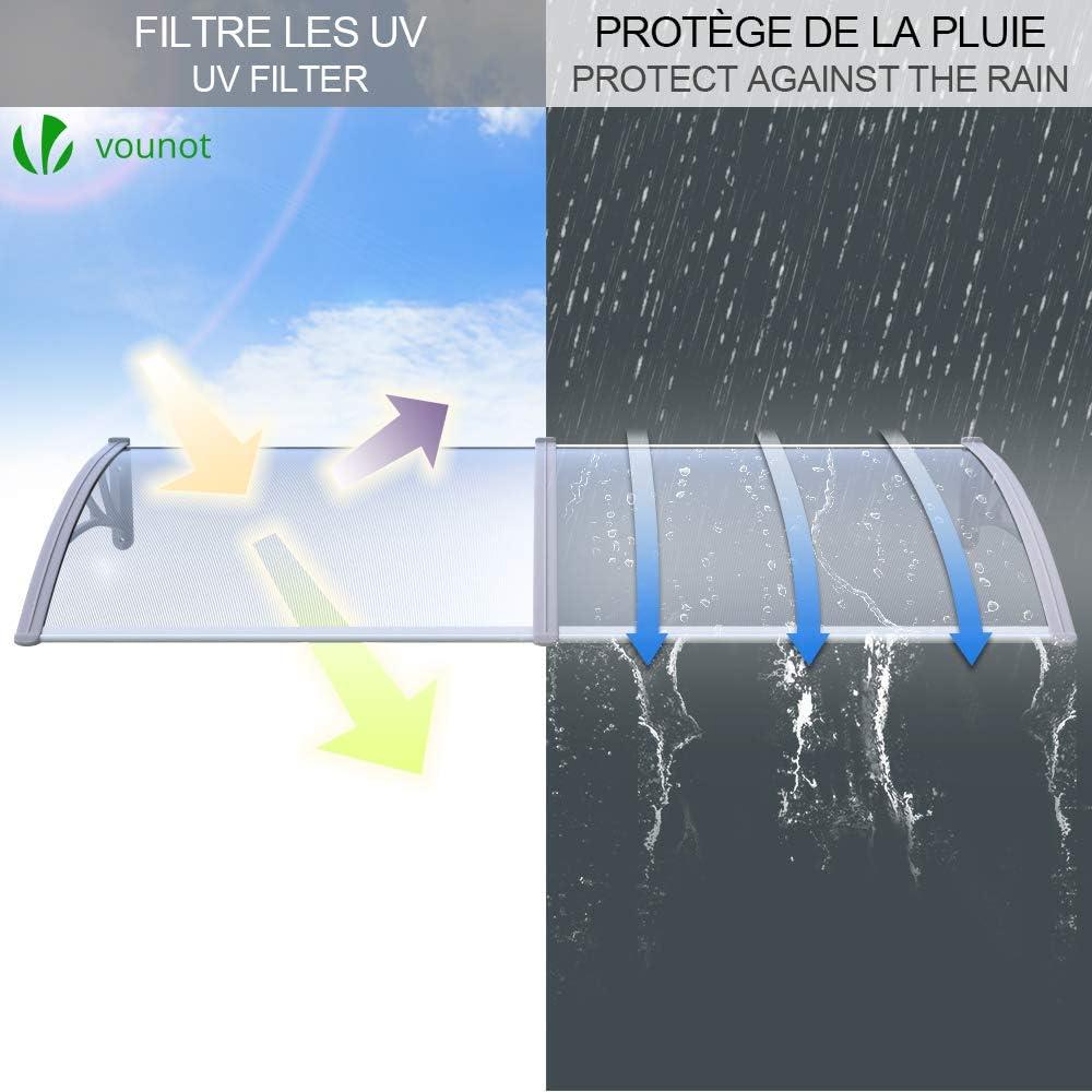 VOUNOT Auvent de Porte dentr/ée Toit Marquise en Polycarbonate Porte R/ésistante Toit Abri Protection Contre La Pluie et UV Gris Transparent 100cm*80cm