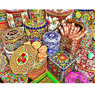 1000 Pcs Jigsaw Puzzle, Ecstasi Colorful Boxes with Different Flower Patterns and Snacks Bohemian Educational Toys for Home Decor Gift for Family Friend, Parent-Kids Game: Home & Kitchen