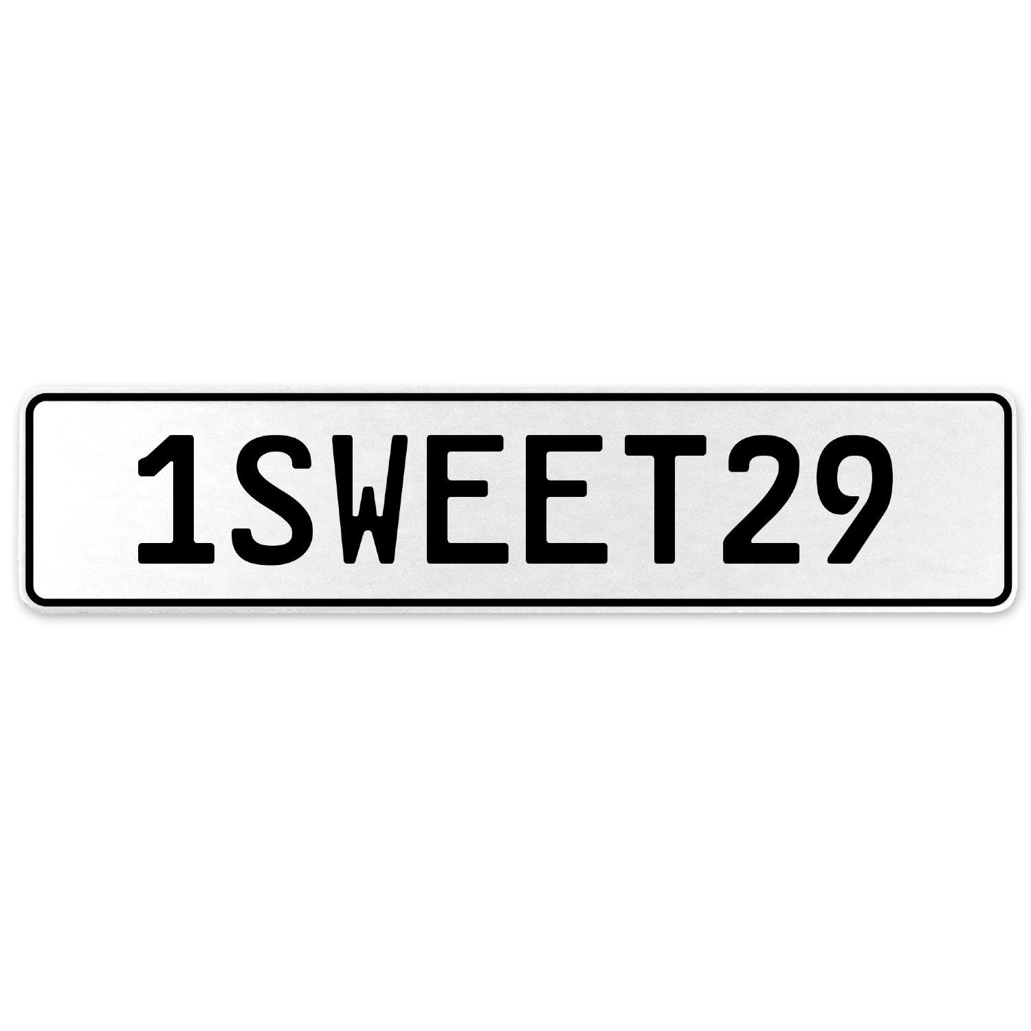 Vintage Parts 554230 1SWEET29 White Stamped Aluminum European License Plate