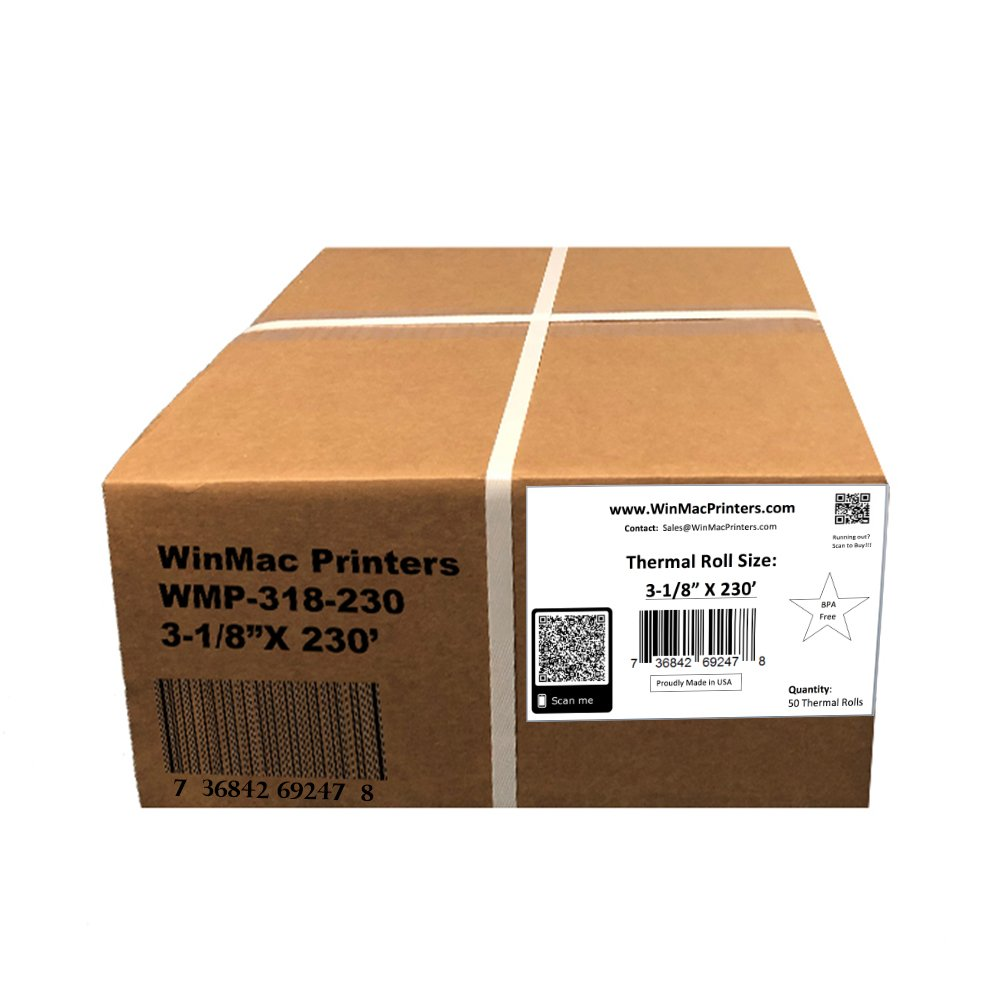 WinMac Printer's 3-1/8 x 230 Thermal Receipt Paper for POS Cash Register 50 Rolls BPA Free by WinMac Printers (Image #4)