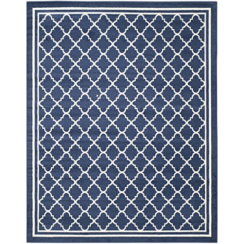 Safavieh Amherst Collection AMT422P Navy And Beige Indoor/ Outdoor Area Rug  (8u0027 X 10u0027)