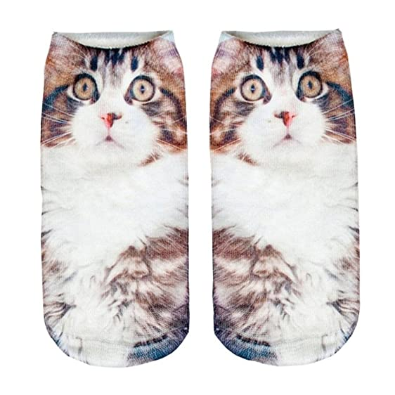 3D Print Socks Big Cat Desige Women Girls Cotton Elastic Socks New Hot Animal