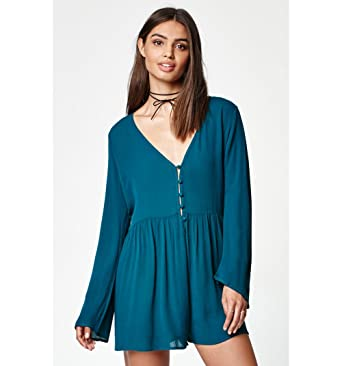 718b716688e1 Kendall   Kylie Womens Button-Down Long Sleeve Romper at Amazon ...
