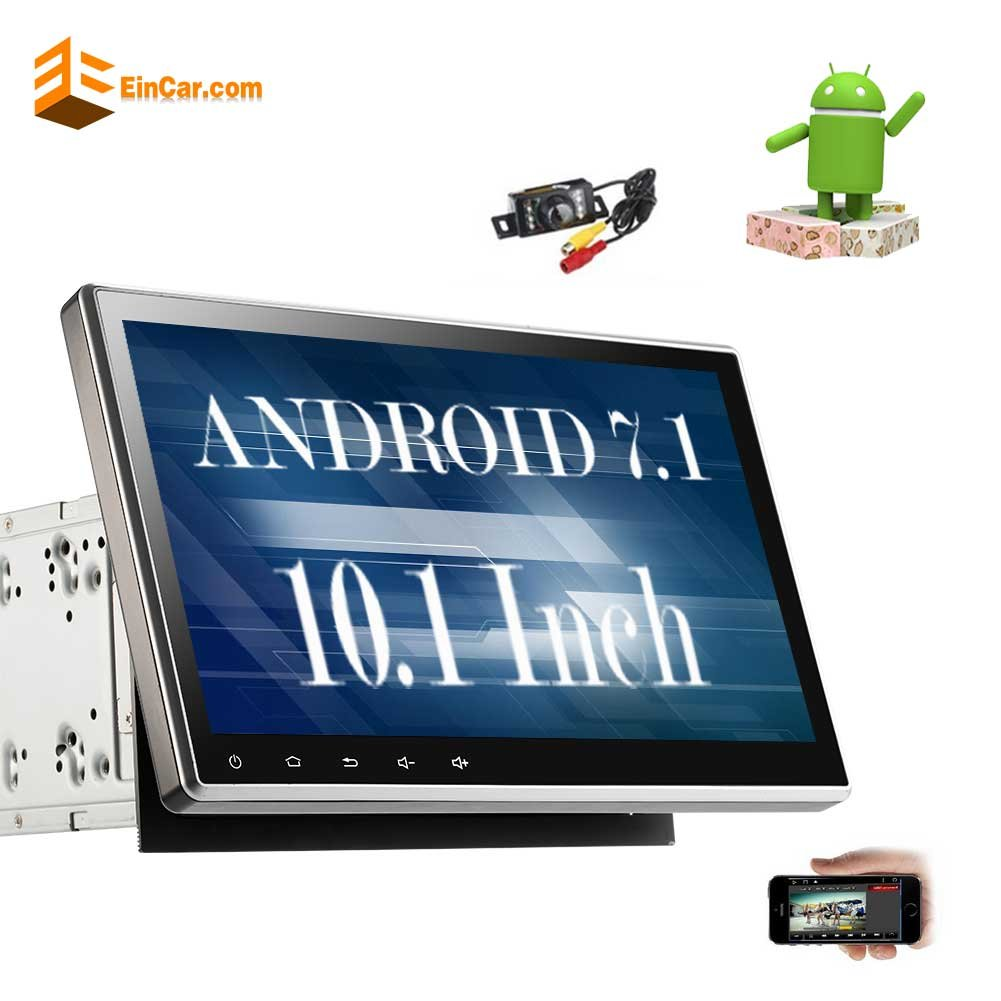 New Arrival!! 10.1'' Upgraded Android 7.1 Quad Core Double Din Car Stereo Car DVD/CD Player In Dash GPS Navigation with Radio Receiver Support Bluetooth WIFI AM/FM Subwoofer+Free Reverse Camera!!