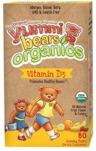 Yummi Bears Organics Vegetarian Vitamin-D Gummy Vitamin Supplement for Kids, Gummy Bears, 60 Count