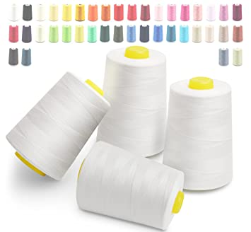 Hilos de coser de poliéster Cubewit 4 PCS hilo de coser para la máquina de coser - 28000 yardas (Blanco): Amazon.es: Hogar