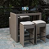 PatioPost Outdoor 5 Pcs Grey Wicker Bar Set: Glass Bar and Four Stools with Cushions - Perfect for Patios, Backyards, Porches, Gardens or Poolside
