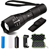 LED Tactical Flashlight - Juzihao JM-T6 Super Bright 1000 Lumens 5 Modes Mini CREE LED Zoomable Flashlights, Water Resistant Portable Camping Torch Light with Rechargeable 18650 Batteries and Charger
