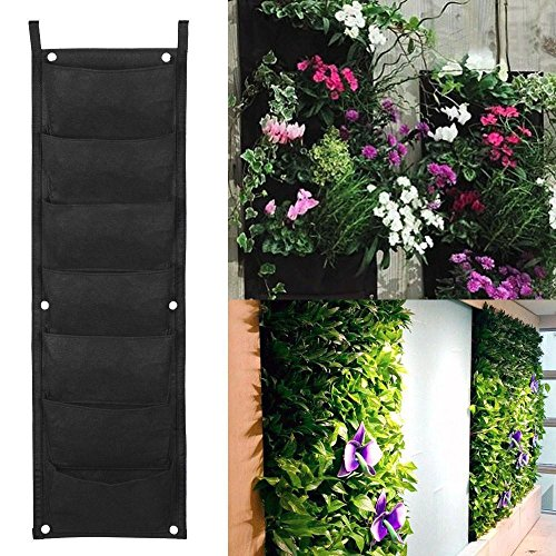 Herb Planter Bag - Yaheetech 7 Pocket Vertical Garden Planter – Living Wall Hanging Planter – Vertical Growing Bags – For Outdoor & Indoor Herb, Vegetable, Flower Gardens