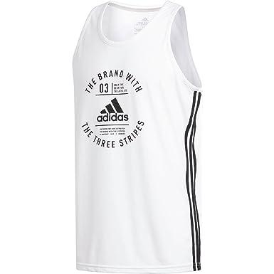 a95bf6eab3fff3 adidas Men s Three-Stripe Tank Top - White -  Amazon.co.uk  Clothing