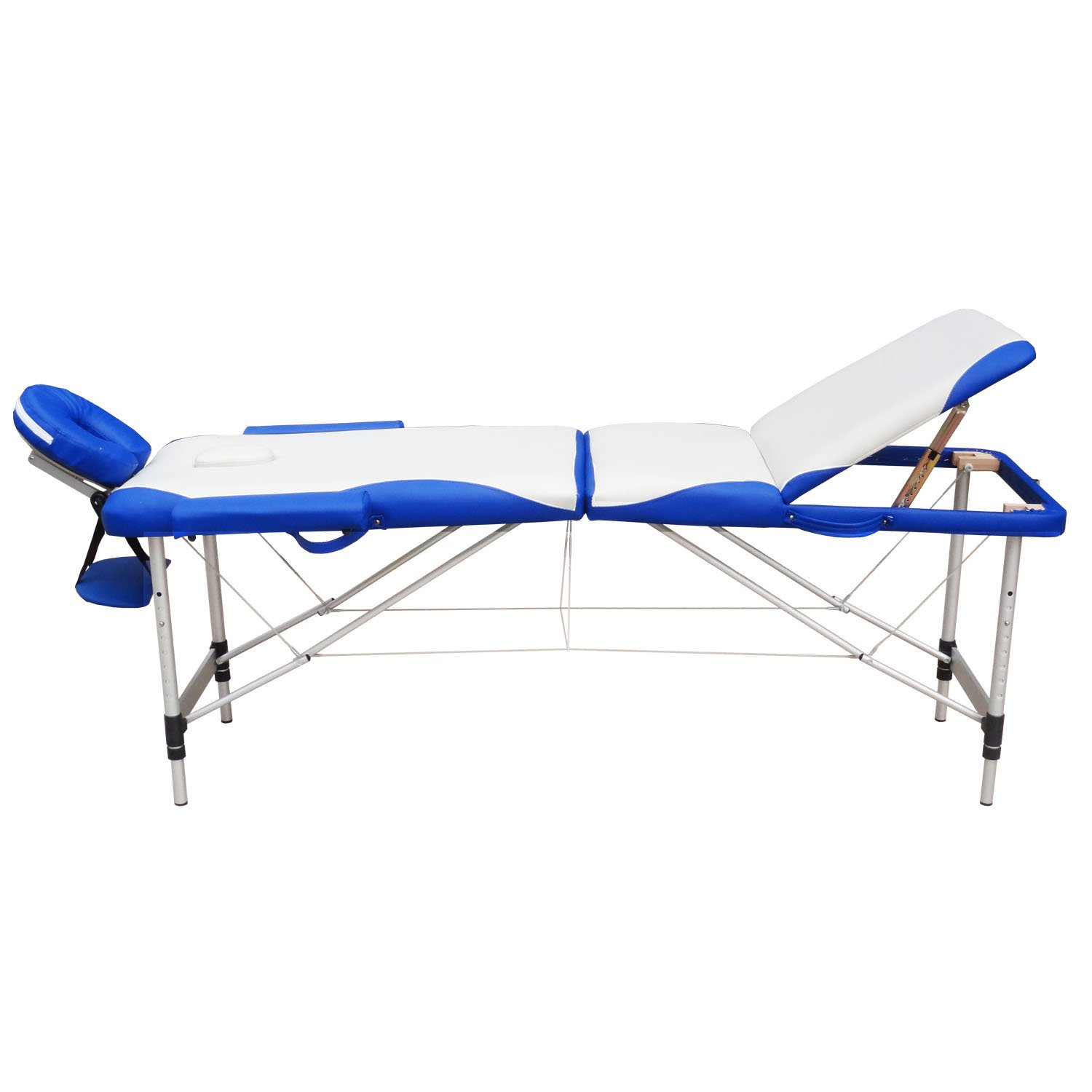 Massage Tables - WELLHOME Portable Massage Table Facial SPA Tattoo Bed Aluminium 3 Section with Free Oxford Carring Bag, Cream & Blue
