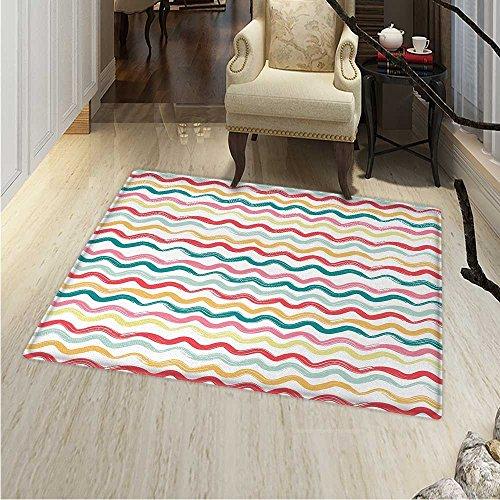 (Striped Rug Kid Carpet Pop Art Parallel Wavy Rough Lines Flush Brush Strokes Shaggy Groovy Boho Design Home Decor Foor Carpe 3'x4' Multicolor )