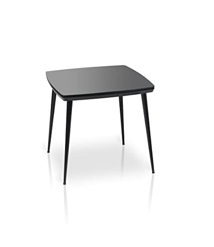 Amazoncom Essai Square Glass Top Dining Table Black Tables
