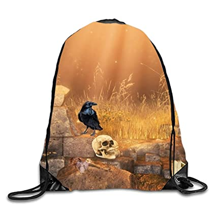 DANCENLI Broken Wall Print Drawstring Backpack Rucksack