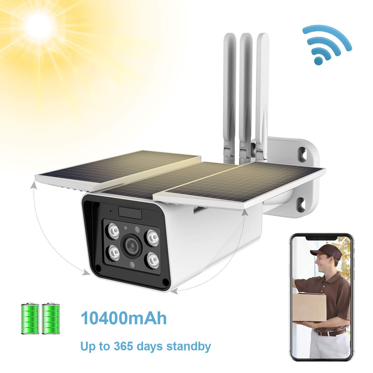 Outdoor Solar Battery Powered Wireless Security Camera,STUCAM 1080P Wirefree CCTV Video Surveillance Camera with 10400mah Battery,Night Vision,Motion Detection,IP67 Waterproof,2-Way Audio Wi-Fi IP Cam by EASEIC