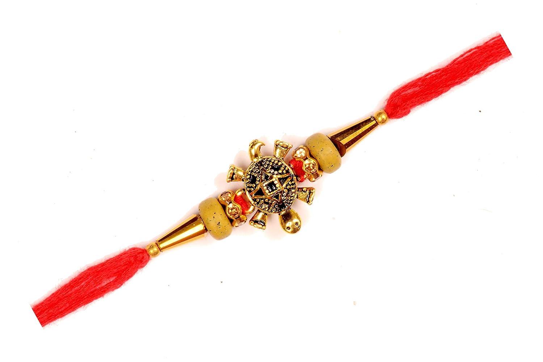 Golden Turtle Rakhi for Brother for Raksha Bandhan Handmade Silk Rakhi with Beads Fancy Rakhi