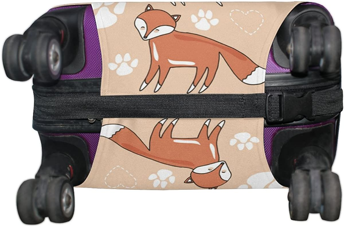 ALAZA Fox Paw Print Heart Travel Luggage Cover Suitcase Cover Case