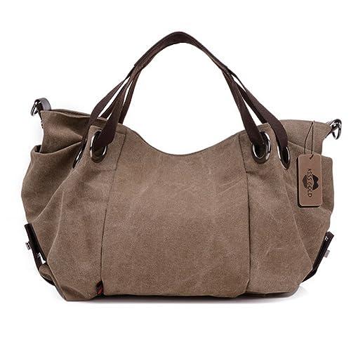 KISS GOLD(TM) Women's Canvas Hobo Top-handle Bag Crossbody Shoulder Bag, European Style, Large Size ...