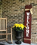 Large Vertical Wood Welcome Sign for Front Porch Decor For Sale