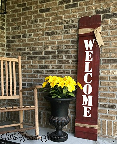 Large Vertical Wood Welcome Sign for Front Porch Decor