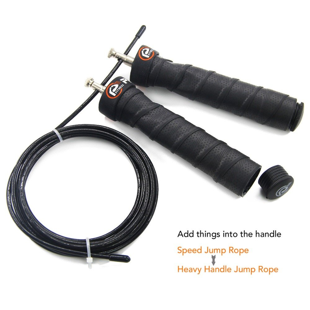 Adjustable jump rope with high speed bearings and grip handles