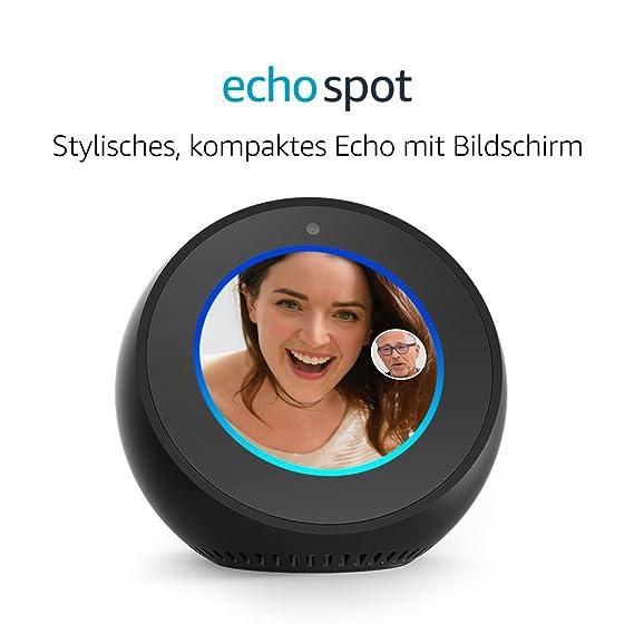 Amazon Echo Spot, Intelligenter Lautsprecher und Bildschirm mit Alexa - Schwarz