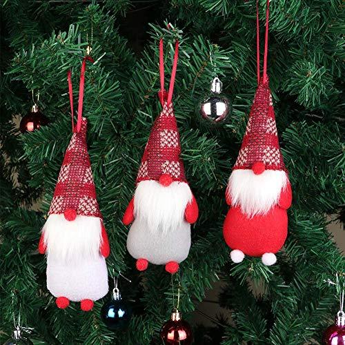 Wmbetter Handmade Swedish Tomte/Scandinavian Gnome/Elf Christmas Ornaments Santa Swedish Figurines,Pack of 3 -