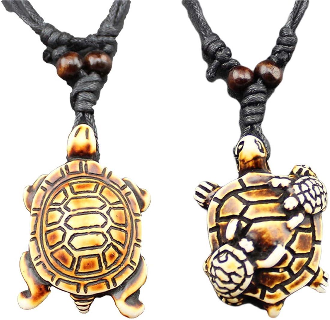 HUNO Cute Sea Turtles Tortoises Pendant Necklaces Rope Chain Resin Handmade Jewelry for Mens Boys Women Girls