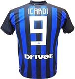 Camiseta de Fútbol Mauro ICARDI Maurito 9 Inter F.C. Primera Camiseta Azul Negra Temporada 2018-2019 Replica Oficial con Licencia - Todos Los Tamaños NIÑO y Adulto