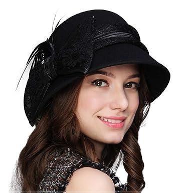 5a83ab4bf2e FADVES Winter Bowknot Fedora Hats Felt Cloche Hat 100% Wool Wide Brim  Bucket Cap Black