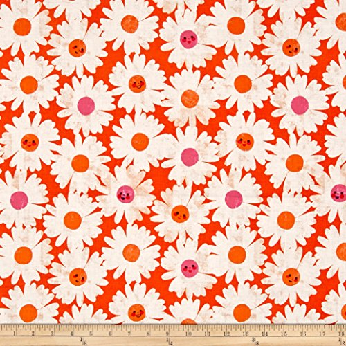 (Cotton + Steel Trinket Happy Garden Orange Fabric by The Yard)