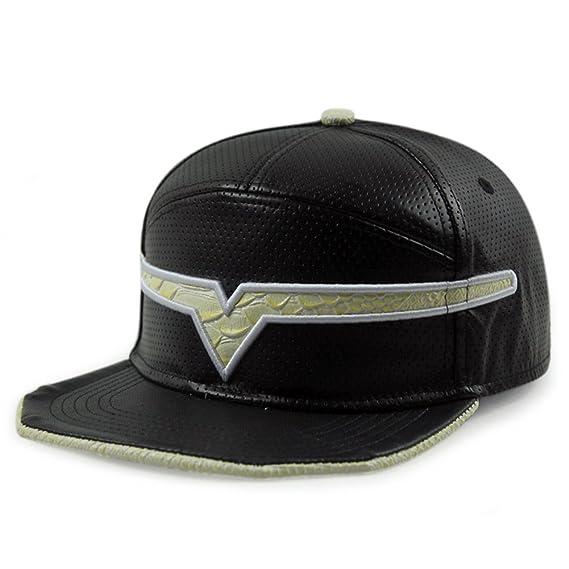 Locomo Negro Falsa Piel Puntos Forma de V, Gorra Visera Cap ffh272 ...