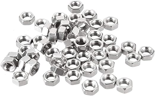 Pack of 50 uxcell Hex Nuts Stainless Steel 304 M6x1mm Metric Coarse Thread Hexagon Nut