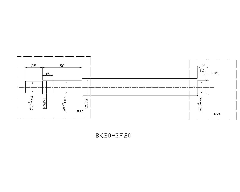 Hezukyp CNC SBR25 Support Rail RM2005 ballscrew 800mm Linear Motion Kit