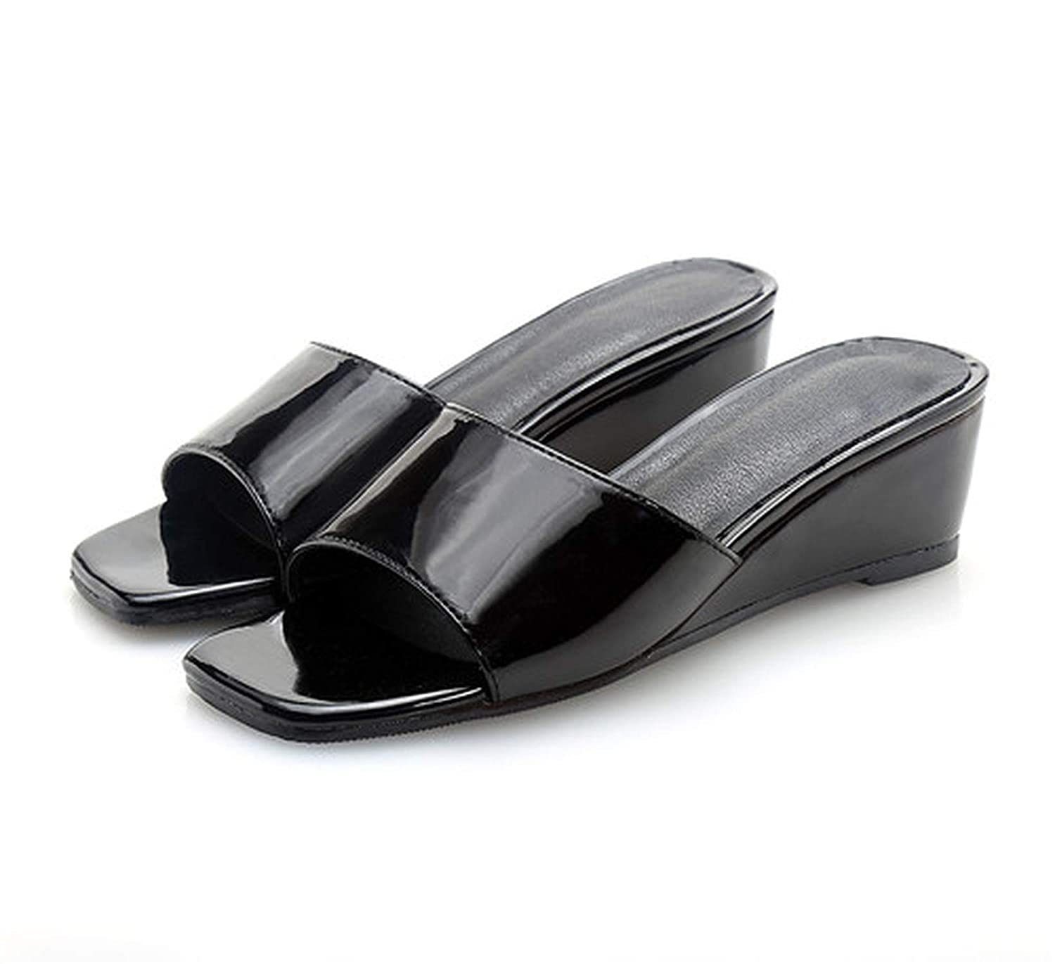 3 goldsmyth Black Low Slippers Summer Ladies New Leather Wedge Heel Outside Slides Flat Sandals