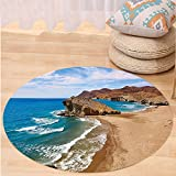 Kisscase Custom carpetLandscape Ocean View Tranquil Beach Cabo De Gata Spain Coastal Photo Scenic Summer Scenery for Bedroom Living Room Dorm Blue Brown