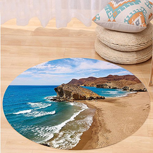 Kisscase Custom carpetLandscape Ocean View Tranquil Beach Cabo De Gata Spain Coastal Photo Scenic Summer Scenery for Bedroom Living Room Dorm Blue Brown by kisscase