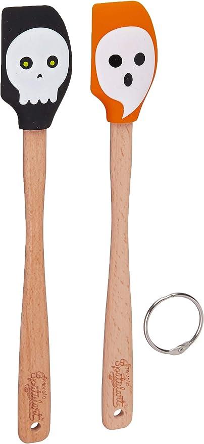 Tovolo Spatulart Silicone Halloween Skeleton Mini Spatulas 2 Set Wood Handles