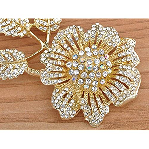 Alilang Huge Golden Flower & Bud Clear Crystal Rhinestone Fashionable Pin Brooch