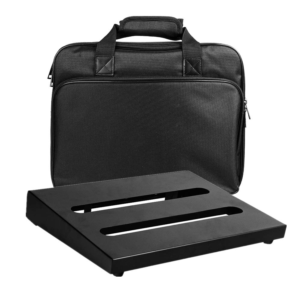 Soyan Medium Size Metal Pedal Board 13.8'' x 10.6'' with Carrying Bag, Self Adhesive Hook & Loop Tapes Included by SOYAN