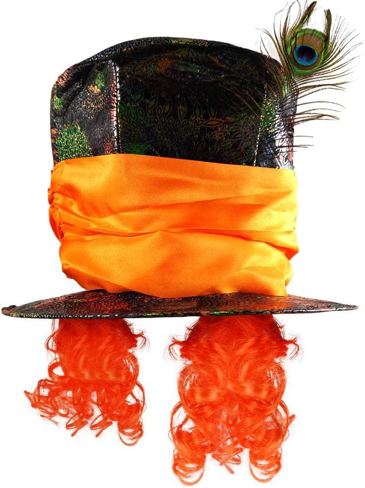 German Trendseller® 1x El Sombrerero Loco - Sombrero - Premium - Deluxe -┃Una Talla para Todos┃Carnaval - Fiesta┃Sombrero y Cabello┃País de Las Maravillas┃1 Pieza