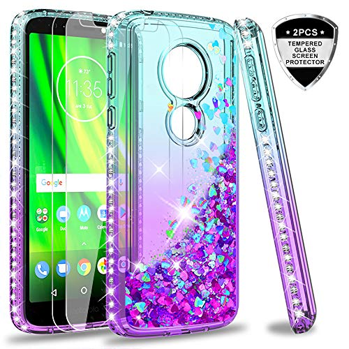 Moto G6 Play Case (Not Fit Moto G6), Moto G6 Forge Case with Tempered Glass Screen Protector [2 Pack] for Girls Women, LeYi Glitter Diamond Liquid Clear Phone Case for Motorola G6 Play ZX Teal/Purple