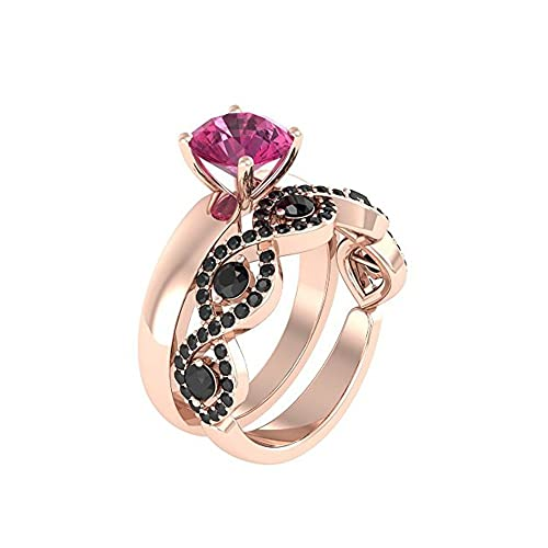 Mejor compromiso anillos de boda en 3,20 ct rosa Zirconia cúbico corte redondo cristal