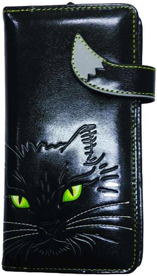 NEMESIS Lucky Kitty - Cartera para cama de regalo con diseño de gato vegano, color negro