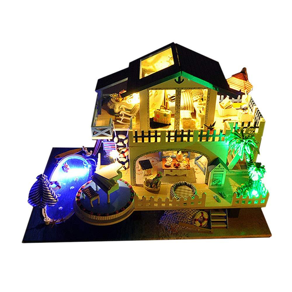 mejor oferta AHXMA Casa Casa Casa De Muñecas De Bricolaje Casas De Muñecas De Madera Juego De Muebles De Casa De Muñecas En Miniatura con Juguetes Led para Niños  A la venta con descuento del 70%.