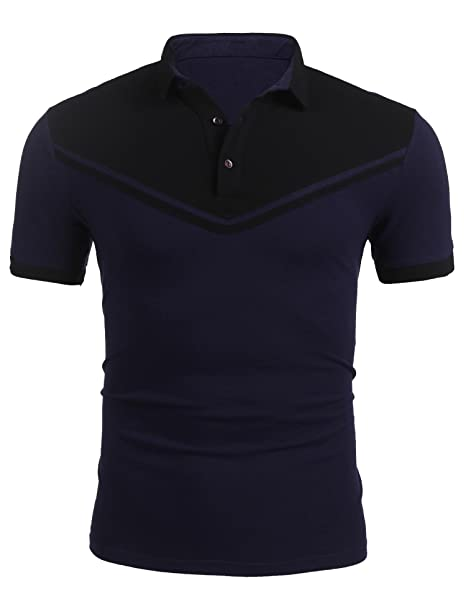zeela Herren Poloshirt Kurzarm T-Shirt Patchwork Pique Polo Shirts Größe S- XXL 3508ae4aef